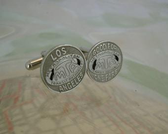 LA Law - Vintage Authentic Los Angeles Transit Token Silver Cufflinks, Man Gift, Wedding Gift, Groomsman Gift