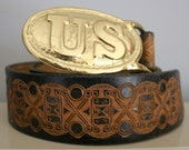 Reserved 70s Small Tooled Leather Belt US Belt Buckle