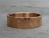 Simple 6mm Wide Wedding Band - Recycled 14k Rose Gold, Hand Textured, Made to Order