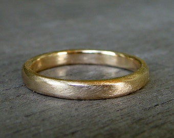 Recycled 14k Yellow Gold Wedding Band, Matte, Made to Order