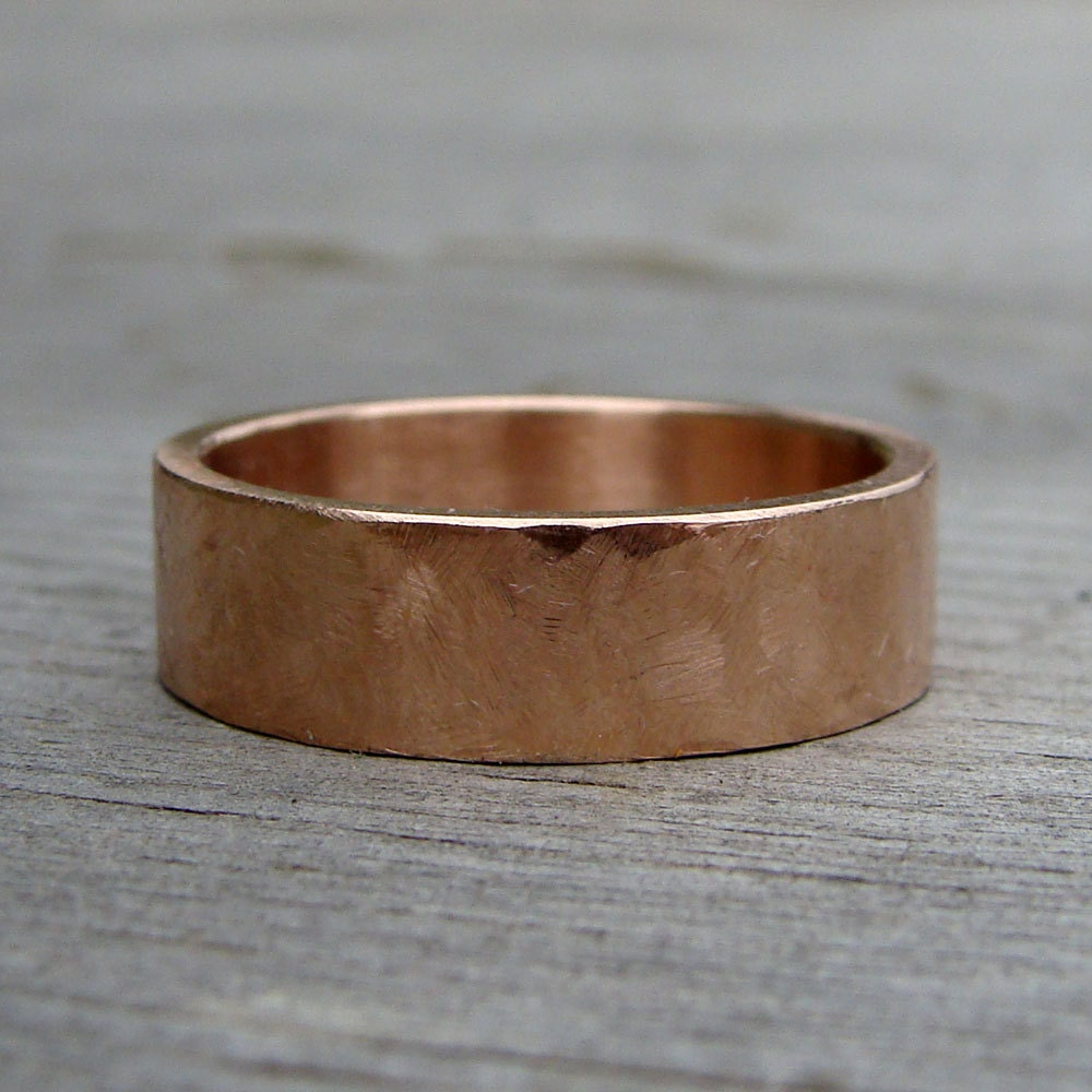 Simple 6mm Wide Wedding Band Recycled 14k Rose Gold Hand
