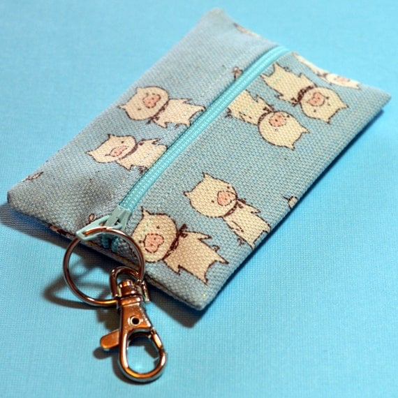 Blue Card Case Zip It Coin Purse - Three Pigs on Pale Blue