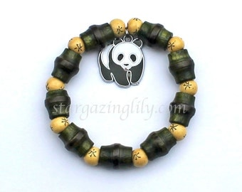 Panda Bear Charm Bracelet with Bamboo shaped green wood beads and Chinese Writing spacer beads
