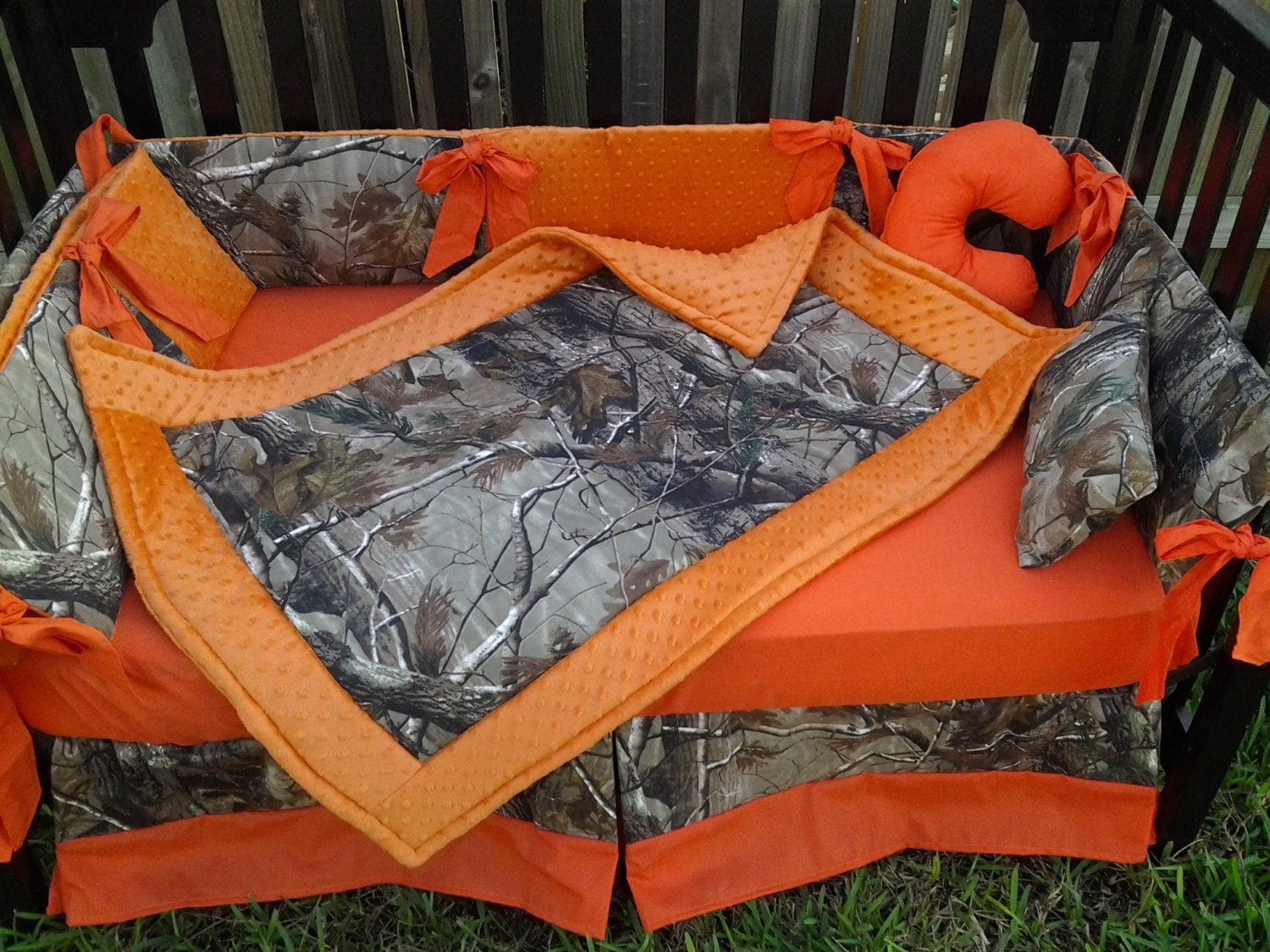 New Brown Real Tree Camouflage Mini Crib Bedding Set W Orange