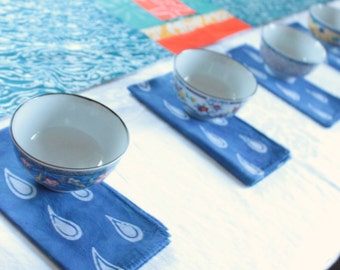 raindrop lunch napkins lapis blue