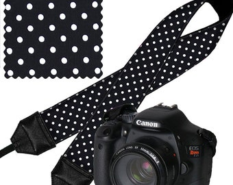 SALE Deluxe Camera Shoulder Strap Women's Dslr Padded Camera Strap Nikon Canon Binocular Strap Polka Dots Black White RTS