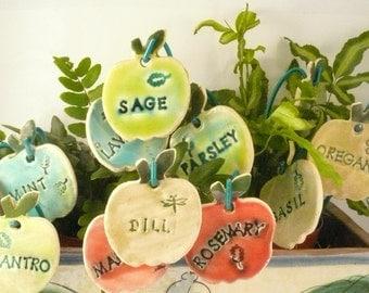 12 Herb Markers, Garden Plant Markers, Gift for Gardeners, ceramic garden signs, garden markers, vegetable garden art, outdoor garden decor