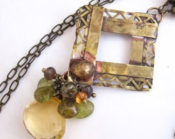 Citrine and Brass Lace Necklace - Antique Brass, Citrine and Gemstone