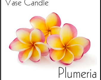 Plumeria Vase Candle 2.8 oz Wax Melts - Highly Scented, Hand Poured Fresh, Premium Paraffin Soy Blend Wax Tarts, 25 Hour, Color Free