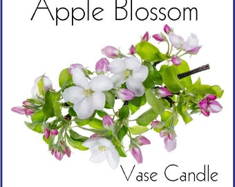 Apple Blossom Vase Candle 2.8 oz Wax Melts - Highly Scented, Hand Poured Fresh, Premium Paraffin Soy Blend Wax Tarts, 25 Hour, Color Free