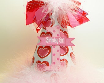 Personalized  Pink and  Red Valentine Birthday Party Hat