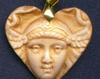 Ready to Wear Art Nouveau  Face Heart  Pendant  GHP 3