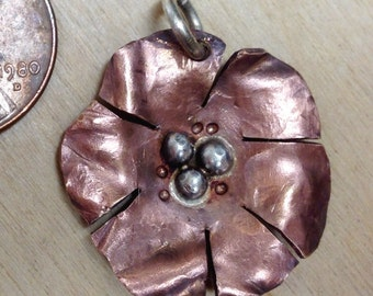 Coin Flower Pendant, Copper Penny with Sterling Accents