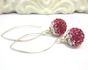 Pink and White Pave Crystal Earrings   Spring Fashion