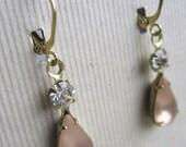 Jennifer Earrings - Vintage Glass & Crystal - Wedding Jewelry