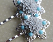 Silver Plated Hair Pins - One Pair - Flowers - Swarovski Pearls - Gray & Aqua