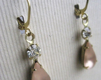 CLEARANCE - Jennifer Earrings - Vintage Glass & Crystal - Wedding Jewelry
