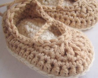 Crochet Baby Booties Organic Cotton Mary Jane Skimmers Size Newborn Ready To Ship