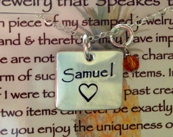 Sterling Silver Reversible Square Hand Stamped Mother's Necklace