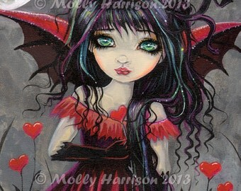 Gothic Big Eye Vampire Fairy Fantasy Fine Art Print  by Molly Harrison 8 x 8 Sweetheart