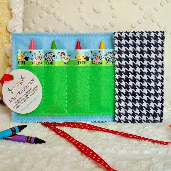 Crayon Roll / Crayon Wallet: Barnyard Animal Pals - arts & crafts coloring travel toy / travel game - Sale take 20% off