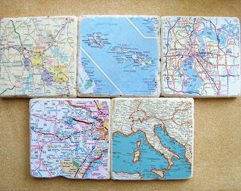 Custom Map Coasters - Set Of 5