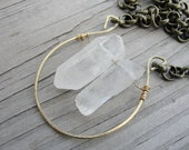 Raw Organic Rustic Crystal Quartz Brass Hammered Pendant Chain Necklace SydneyAustinDesigns