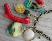 Oahu. Tropical Beach Coral and Lampwork Brass Chain Charm Necklace