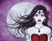 Aceo Verona red sad Vampire lustre print by renee