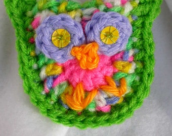 Bright Green, Pink, Purple, Yellow Owl Key Fob