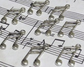 Music Note Charms - 100 pcs - Antique Silver - Tibetan Charms - Wine Charms - Music Charms