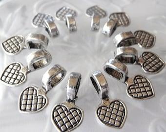Glue on Bails - 50 pcs - Antique Tibetan Silver - Heart Bails - Lead Free - Nickel Free