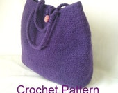 How to Make Crochet Felted Bag Pattern Tutorial, Easy Crochet Bag Pattern, Instant download