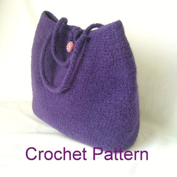 Crochet Felted Tote Bag Pattern : How to Make Crochet Felted Bag Pattern Tutorial Easy Crochet