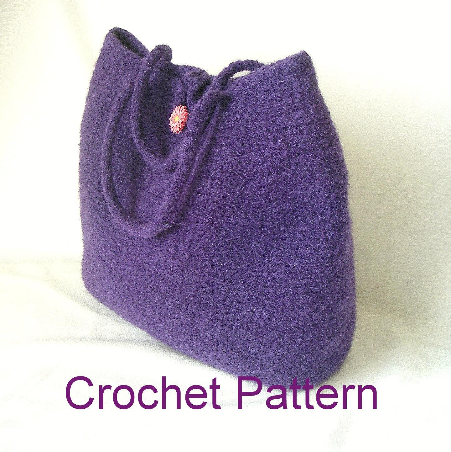 How To Make Crochet Handbags : How to Make Crochet Felted Bag Pattern by GraceKnittingPattern