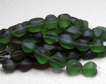 Bottle Green Baby Nuggets- recycled sea glass beads