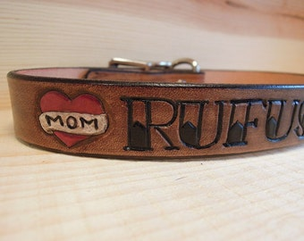 Mom Tattoo - Leather - Dog Collar - Personalized