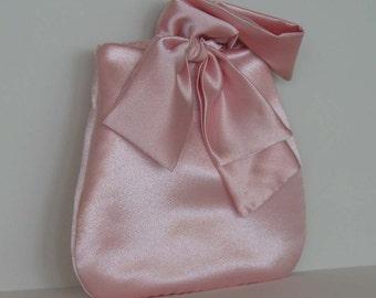 Pink prom purse , Handmade wedding purse ,  evening wristlet with bow , party wrist purse , small purse , satin evening bag