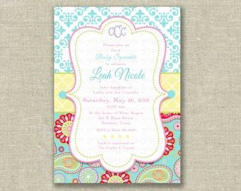 Baby Shower Girl Invitation Invite French Paisley Damask Turquoise Pink Monogram- Printable DIGITAL - by girls at play girlsatplay