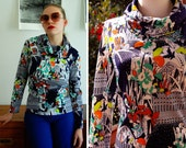 MUSHROOM 1960's 70's Vintage Psychedelic Polyester Long Sleeve Shirt with Large Cowl Turtleneck size Small Med