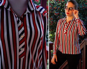 The PATRIOT 1970's Vintage Red White and Blue Striped Polyester Shirt size Med