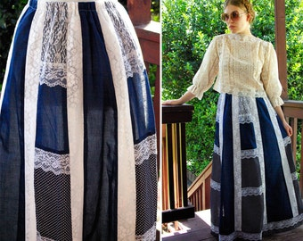 Bohemian FOLK 1960's 70's Vintage Navy Blue & White Lace Maxi Skirt size Small // Made in Hawaii
