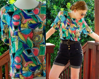COLOR Sketch 1980's 90's Vintage Blouse with Colorful Geometric Designs by Block Island // Teal Blue Pink