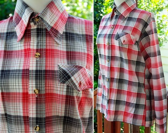 FARMER John 1940's 50's Vintage Men's Red and Black Plaid Button Down RAYON Shirt size Medium