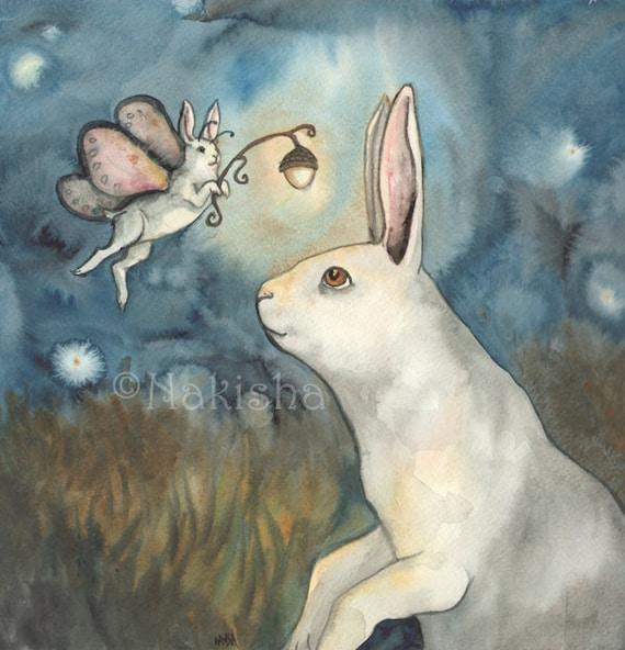 Night Bunny Fairy Archival Fine Art Print Large Size