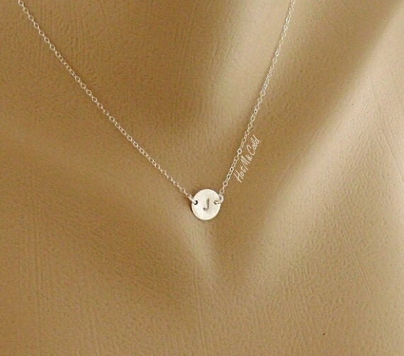 Custom Monogram Initial Necklace, Disc Charm Brushed STERLING Silver Necklace, Simple Daily Jewelry, Birthday, Bridesmaid, Valentine Gifts