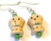 Porcelain Earrings -- Cute Puppy Dog Earrings -- Kawaii Jewellery -- Clip on and Sterling silver hooks available