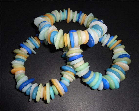 Faux Beach Glass Bracelet Lightweight Handcrafted by Barbara Poland-Waters