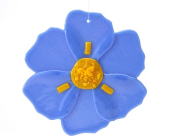 Periwinkle Blue Poppy, glass ornament, sun catcher