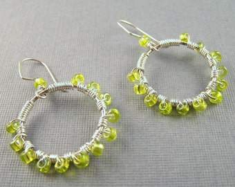 Sterling Silver Hoops with Lime Green Glass Beads